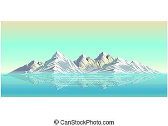 táj, hó, ábra, hegy, gyakorlatias