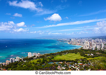 táj, hegy, waikiki, tető, hawaii, tengerpart