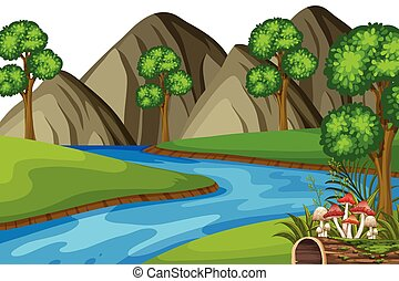 táj, hegyek, folyó, háttér
