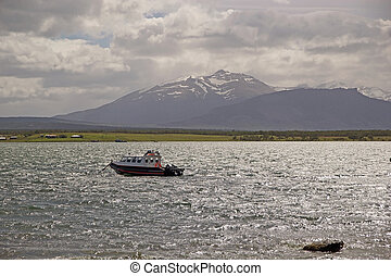 táj, kilátás, alapján, puerto natales, alatt, patagonia, chile