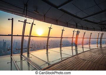táj, kilátás, shanghai, antenna, szürkület
