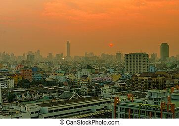 táj, napnyugta, közül, város, alatt, bangkok, thaiföld