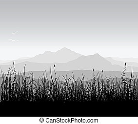 táj, noha, fű, és, hegyek