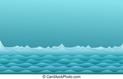 táj, tenger, sea., kék