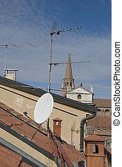 tál, mellékbolygó, tető, antenna