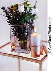 tálca, lakberendezési tárgyak, csokor, gyertya, váza, szüret, otthon, menstruáció, asztal
