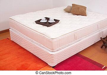 tálca, reggeli, unmade ágy