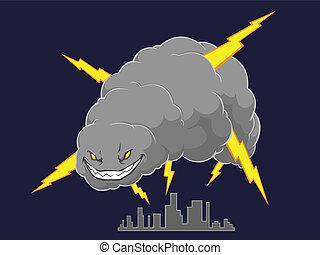 támadó, felhő, város, megrohamoz