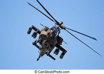 támad, helikopter