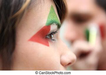 támogató, olasz, futballcsapat