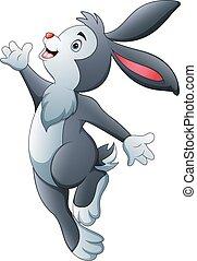 tánc, üregi nyúl, nyuszi, húsvét, karikatúra