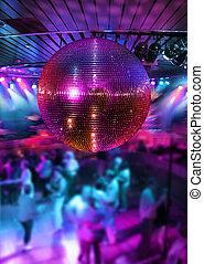 tánc, alatt, disco, tükör labda
