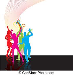 tánc, boldog, emberek, silhoettes