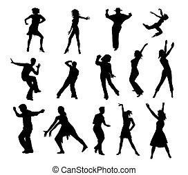 tánc, emberek, körvonal