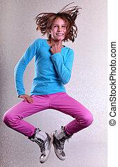 tánc, futás, ugrás, magas, meglehetősen lány