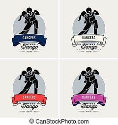tánc, klub, vagy, jel, osztály, design.