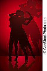 tánc, párosít, árnykép
