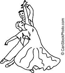 tánc, párosít, -, vektor, ábra, skicc, kéz, húzott, noha, fekete, megvonalaz, elszigetelt, white, háttér