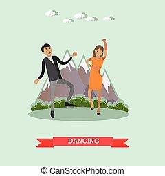 tánc, párosít, vektor, illutration, alatt, lakás, mód