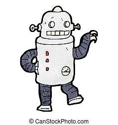 tánc, robot, karikatúra