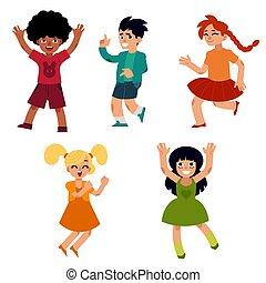 tánc, tizenéves, fiatal, vektor, női, hím