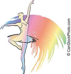 táncol, balerina, leány