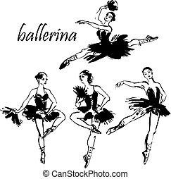 táncol, balerina, vektor, ábra
