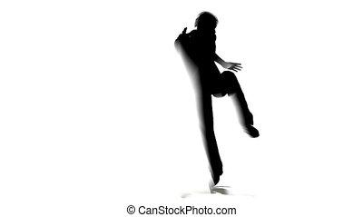 táncol, ember, árnykép