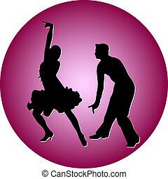 táncol, emberek, árnykép, vektor