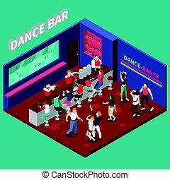 táncol, isometric, bár, zenemű