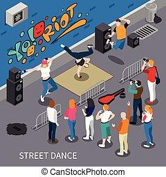 táncol, isometric, utca, zenemű