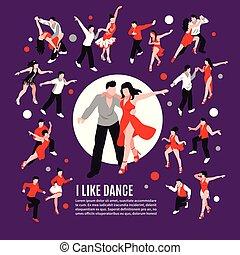 táncol, isometric, zenemű, emberek