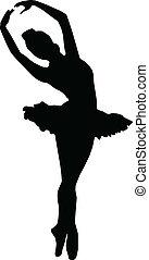 táncol, körvonal, balett, leány