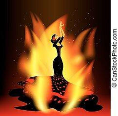 táncol, lángoló, flamenco