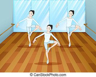táncol, színházi próba, belső, műterem