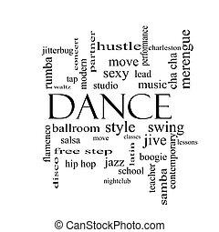 táncol, szó, felhő, fogalom, alatt, fekete-fehér