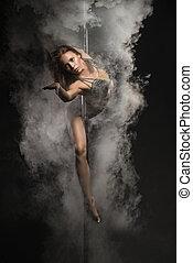 táncol, Szexi, lengyel, fiatal, nő