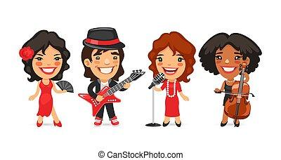 táncos, énekes, zeneértők, karikatúra, betűk