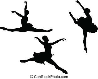 táncos, balett, állhatatos, három, silhouet