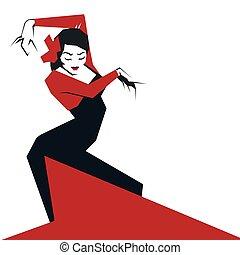 táncos, kifejező, hatásos, flamenco, pose., laconi, ...