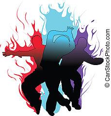 táncosok, lángoló
