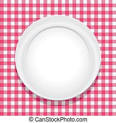 tányér, abrosz, vektor, üres