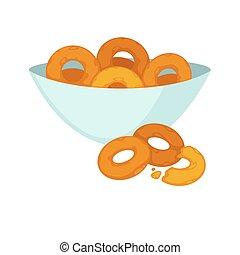 tányér, bagels, elszigetelt, mély, fehér, friss, kerek