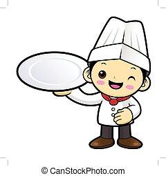 tányér., betű, elszigetelt, ábra, séf, háttér., vektor, birtok, fehér, karikatúra