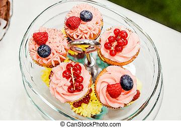 tányér, cupcakes, lakás, pohár, dal, finom, bogyók