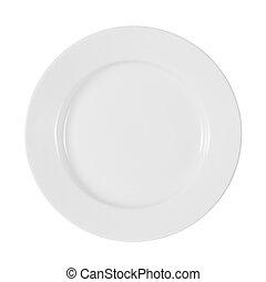 tányér, darabka, elszigetelt, included, út, fehér, fényes