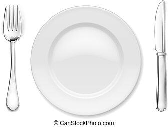 tányér, evőeszköz