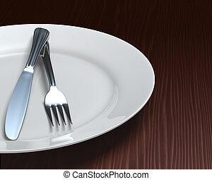 tányér, &, evőeszköz, sötét, kitakarít, asztal, woodgrain