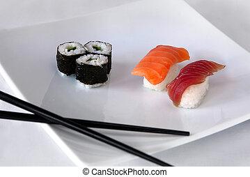 tányér, fehér, sushi