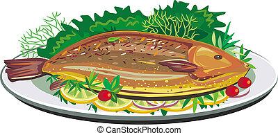 tányér, fish, sült